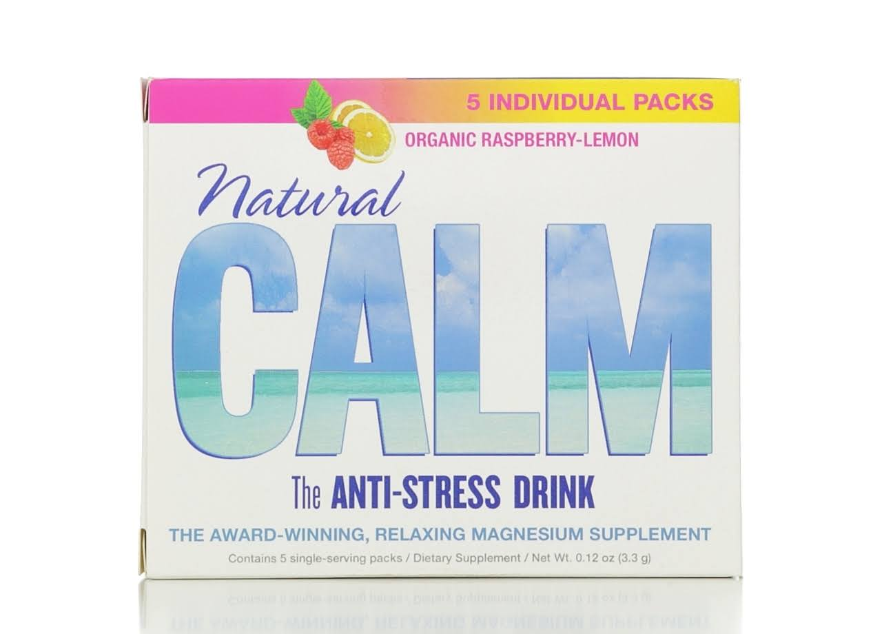 Natural Calm Anti-stress Drink - Organic Raspberry-Lemon, 5 pack