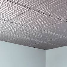 Fasade Thermoplastic Ceiling Tiles by Fasade Dunes Argent Silver 2 Foot Square Lay In Ceiling Tile