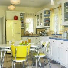 Yellow And Cornflower Blue Retro Vintage Kitchen Love The White Cabinets With Outline Of Tile Open Shelvessoft Is Very Pretty But I