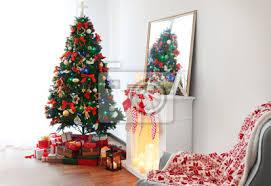 fototapete kamin im wohnzimmer zu weihnachten dekoriert