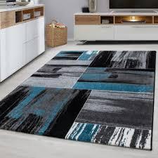 wohnzimmer teppich modern grau schwarz weiß retro muster