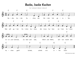 backe backe kuchen text noten zum mitsingen