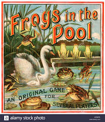 Box Lid Illustration From A Vintage Board Game Called Frogs In The Pool