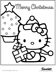 Hello Kitty Printable Merry Christmas Coloring Page