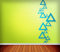 Green Wall Paint With Triangles Design