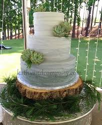Grey Ombre Wedding Cake With Fresh Succulents