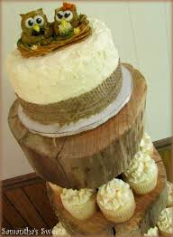 Owl Wedding Cake Cupcake Display Rustic Owls