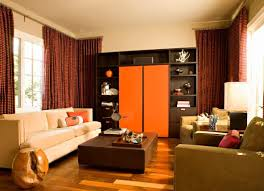 Living Room Curtains Design Ideas 2016 Orange Styled Modern Apartment With Corner Cornice Construction