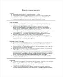 Summary For Resume Sample Career Regarding Example 4336