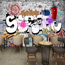 Custom 3D Wall Murals Wallpaper Creative Art Retro Street Graffiti Bar Restaurant Background Decor Large