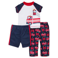 100 Fire Truck Pajamas LTMBABY Truck 3pc Poly Boy Navy Blue Red 12