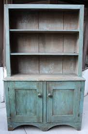 Antique Early American Primitive Hand Made Rare Painted Blue Cabinet W Shelves