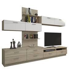 wohnwand cardif modernes wohnzimmer set möbel design mediawand anbauwand wandschrank wandboard tv lowboard sonoma eiche sonoma eiche weiß