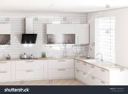 Modern White Kitchen Interior 3d Rendering Stockfoto Und White Kitchen Furniture Modern Food Stulish Stock