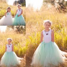 mint green junior bridesmaid dresses ball gowns flower girl tulle