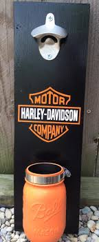 Harley Davidson Wall Mounted Bottle Opener With Mason Jar Cap Catcher