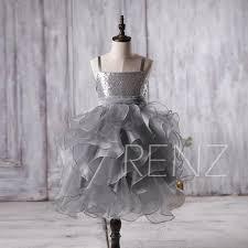 2016 silver sequin junior bridesmaid dress charcoal grey ruffle