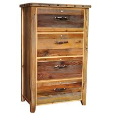 Barnwood Locking Lateral Filing Cabinet with Nailheads 4 Drawer