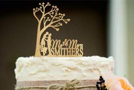 Rustic Wedding Cake Topper Personalized Silhouette Funny Unique