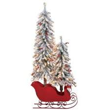 Holiday Living 45 Ft Pre Lit Red Sleigh Pine Slim Flocked Artificial Christmas Tree