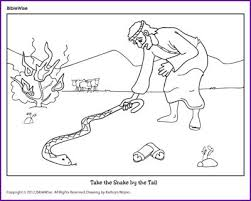 Coloring Moses Takes The Snake By Tail