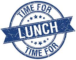 Time For Lunch Grunge Retro Blue Isolated Ribbon Stamp Vector Art Illustration