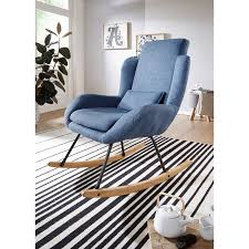 schaukelstuhl rocky blau design relaxsessel 75 x 110 x 88 5 cm sessel stoff holz schwingsessel mit gestell polster relaxstuhl schaukelsessel