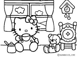 HELLO KITTY Tea Time Coloring Page Color Online Print