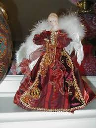 NEW FANCY BURGUNDY GOLD ANGEL CHRISTMAS TREE TOPPER BEAUTIFUL Angel Christmas Tree Topper