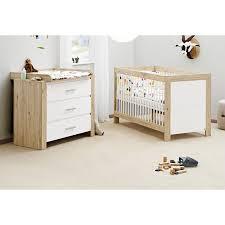chambre bébé bois naturel lit évolutif et commode à langer chêne massif naturel et blanc