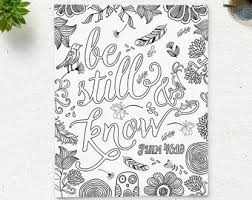 Coloring Page Printable Bible Verse Psalm 46 10 Be Still Instant Download Adult Pages