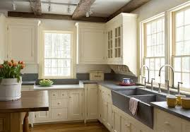 KitchenFancy Simple Country Kitchen Design Ideas Showing L Shape Cabinet And Long Island