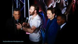 Civil War Blue Carpet MBS Chris Evans Sebastian Stan Anthony Mackie Joe Russo