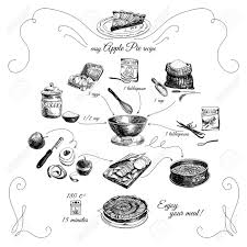 Simple Apple pie recipe Step by step Hand drawn illustration with apples eggs