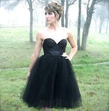black rhinestone bustier corset strapless cocktail tulle dress