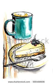 A Cup Of Coffee And Piece Cheesecake On Plate Drawing With Ink
