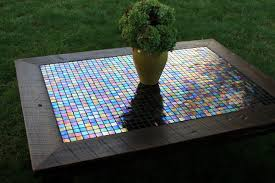 large coffee table iridescent mosaic tile coffee table