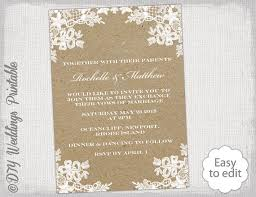 Rustic Wedding Invitation Template DIY Lace Invitations Portrait Kraft Printable Ecru Invites YOU EDIT Word Download
