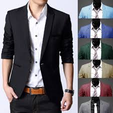 fashion men u0027s slim fit stylish formal casual one button suit
