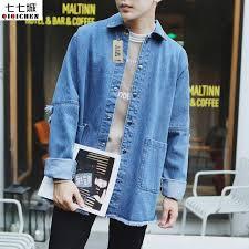 Men Hole Jacket Korean Streetwear Hip Hop Denim Vintage Fashion Casual Coats