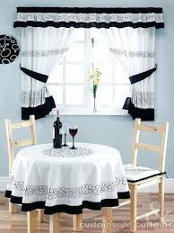 White Kitchen Curtains With Black Trim by White With Blue Trim Kitchen Curtains Aqua And Yellow Pair Cafe