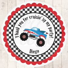 100 Monster Truck Decorations Birthday Party Favor Stickers Racing S Thank You Stickers Boys Birthday Party 1st Birthday Party Set Of 24