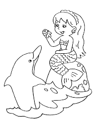 Dolphin Mermaid Coloring Pages For Kids