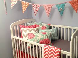 Coral And Navy Baby Bedding by Coral Colored Crib Sheets Coral Aqua Yellow Crib Bedding