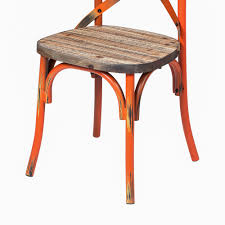 Rustic Reclaimed Crossback Dining Chair In Orange, The Khazana Home ... Saddle Leather Ding Chair Garza Marfa Jupiter White And Orange Plastic Modern Chairs Set Of 2 By Black Metal Cafe Fniture Buy Eiffel Inspired White Orange With Legs Grand Tuscany Total Sizes Wd325xh36 Patio Urban Kitchen Shop Asbury With Chromed Velvet Vivian Of World Market Industrial Design Slat Back Products Flash Indoor Outdoor Table 4 Stack