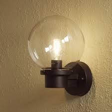 konstsmide nemi globe outdoor wall light with dusk to sensor