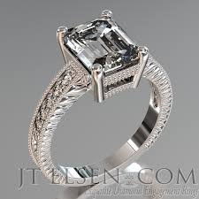 Hand Engraved Antique Style Emerald Cut Pave Prong Set Diamond Engagement Ring