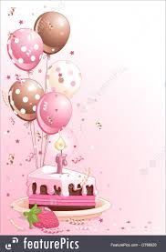 Celebration Clipart pink lustration of a Slice Birthday Cake With Balloons And Confetti