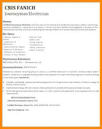 Sample Resume For Electrician Apprentice Journeyman Template Examples