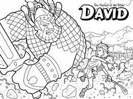 The Heroes Of Bible David Versus Goliath Coloring Page